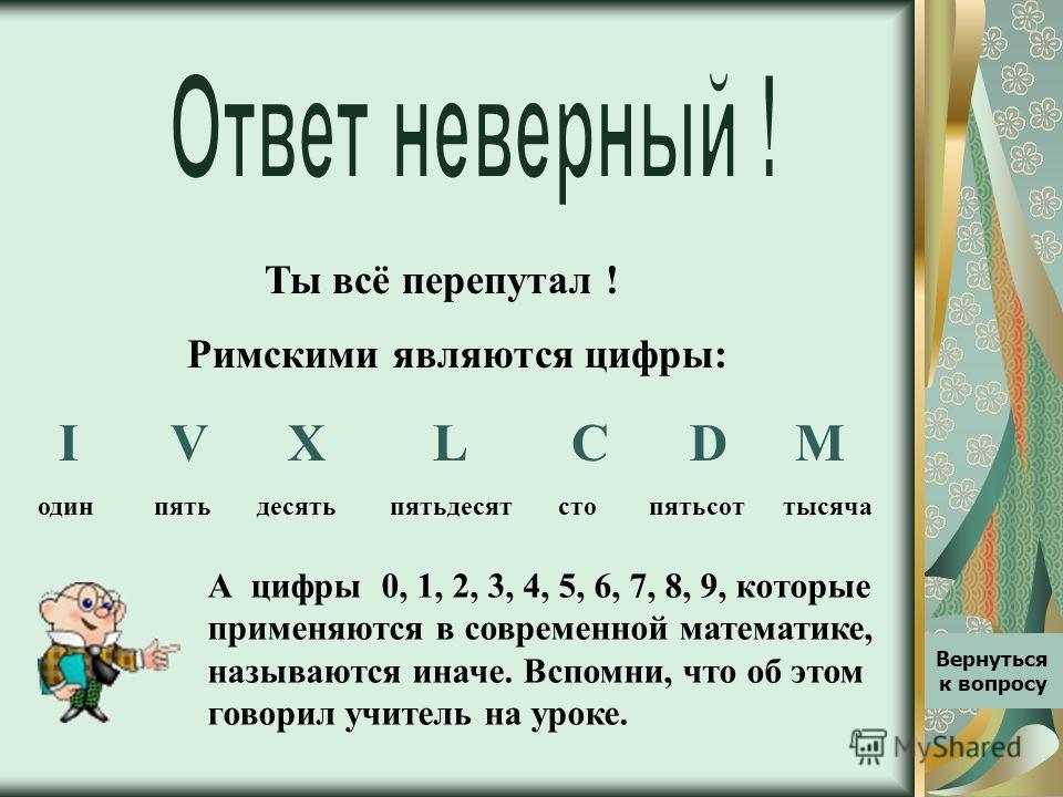 Ты всё перепутал ! Римскими являются цифры: I V X L C D M один пять десять пятьдесят сто пятьсот тысяча А цифры 0, 1, 2, 3, 4, 5, 6, 7, 8, 9, которые применяются в современной математике, называются иначе. Вспомни, что об этом говорил учитель на урок