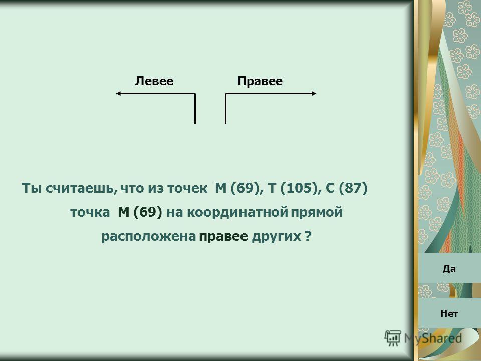 ПравееЛевее Ты считаешь, что из точек М (69), Т (105), С (87) точка М (69) на координатной прямой расположена правее других ? Да Нет