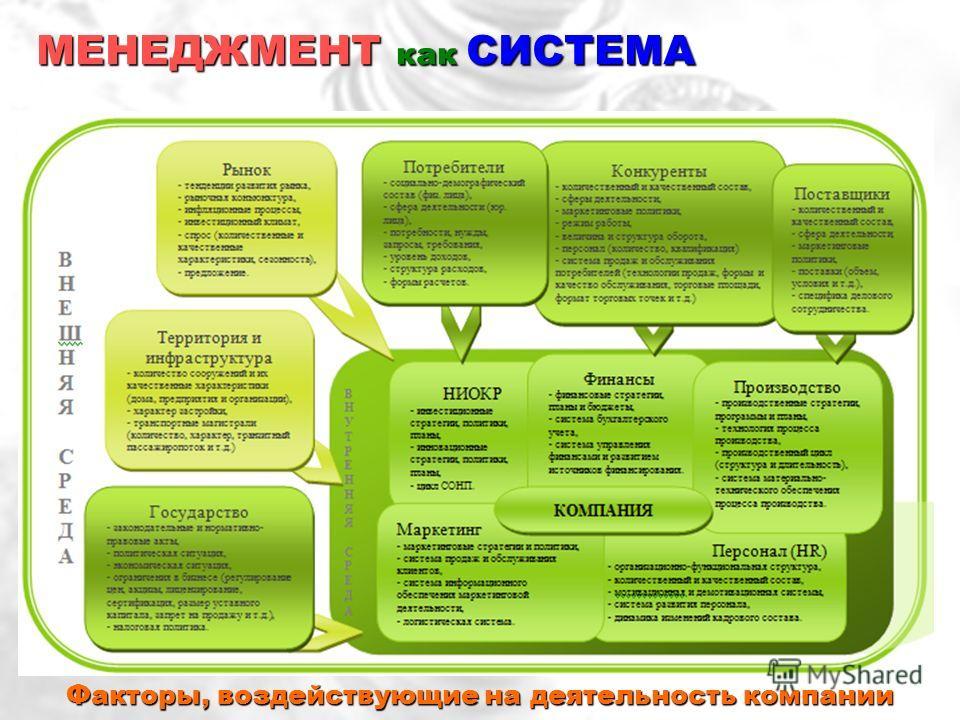 Факторы, воздействующие на деятельность компании МЕНЕДЖМЕНТ как СИСТЕМА
