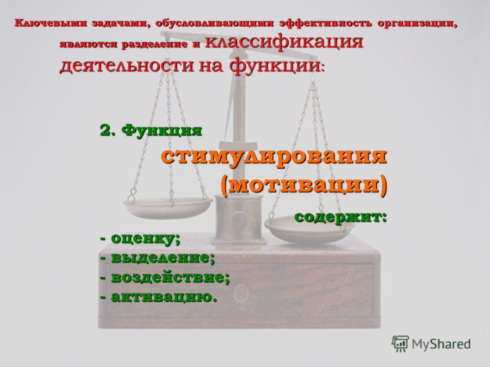 Ключевыми задачами, обусловливающими эффективность организации, являются разделение и классификация деятельности на функции : 2. Функция стимулирования стимулирования(мотивации) содержит: содержит: - оценку; - выделение; - воздействие; - активацию.