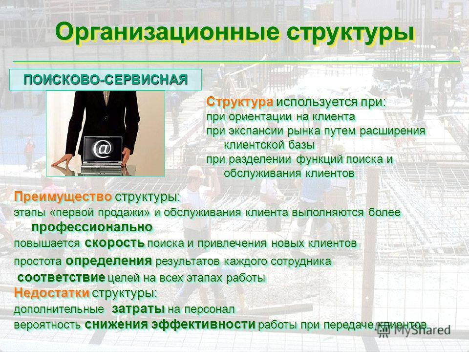 Организационные структуры Структура используется при: при ориентации на клиента при экспансии рынка путем расширения клиентской базы при разделении функций поиска и обслуживания клиентов Структура используется при: при ориентации на клиента при экспа