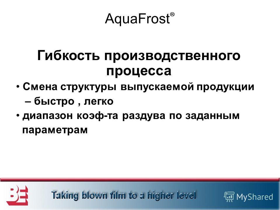 AquaFrost Гибкость производственного процесса Смена структуры выпускаемой продукции – быстро, легко диапазон коэф-та раздува по заданным параметрам