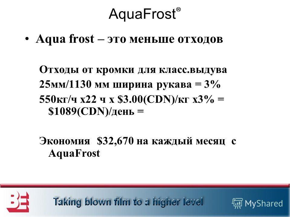 AquaFrost Aqua frost – это меньше отходов Отходы от кромки для класс.выдува 25мм/1130 мм ширина рукава = 3% 550кг/ч x22 ч x $3.00(CDN)/кг x3% = $1089(CDN)/день = Экономия $32,670 на каждый месяц с AquaFrost
