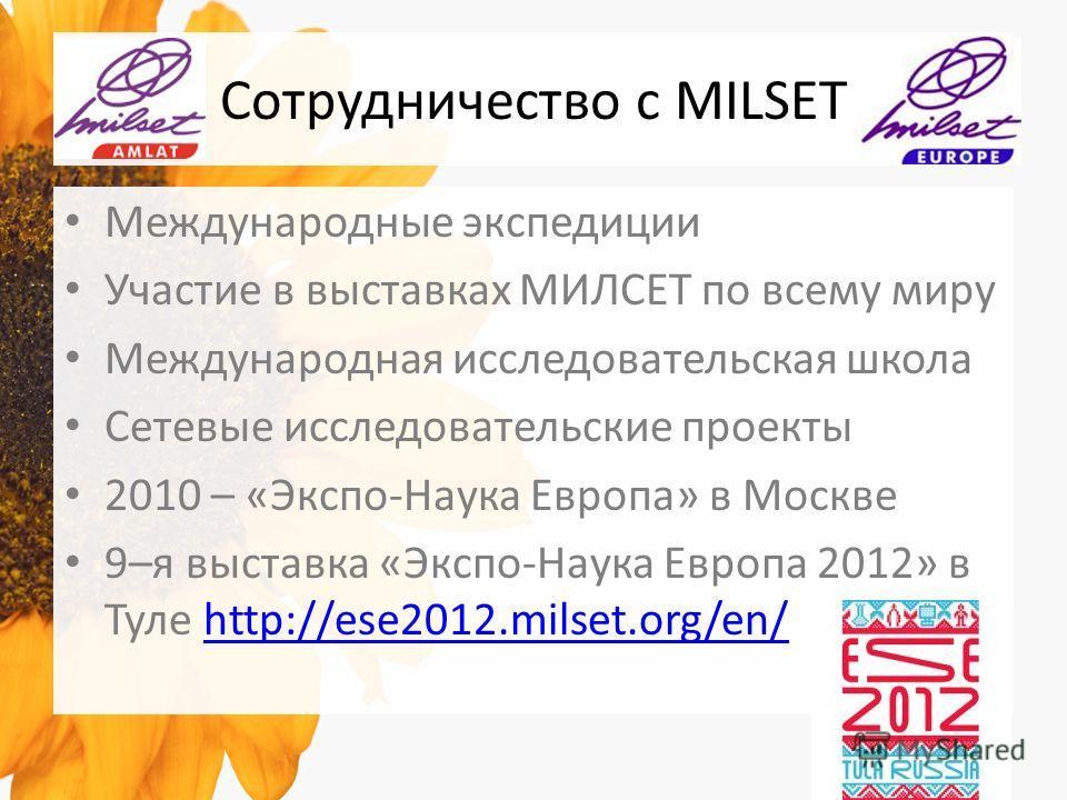 Сотрудничество с MILSET Международные экспедиции Участие в выставках МИЛСЕТ по всему миру Международная исследовательская школа Сетевые исследовательские проекты 2010 – «Экспо-Наука Европа» в Москве 9–я выставка «Экспо-Наука Европа 2012» в Туле http: