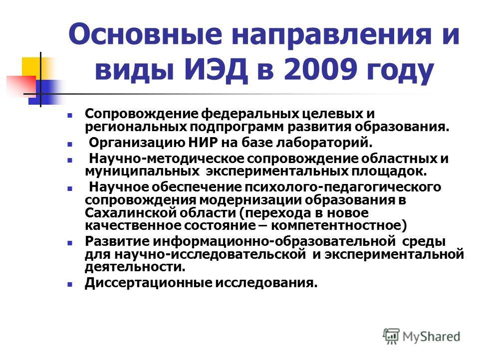 Основные направления и виды ИЭД в 2009 году Сопровождение федеральных целевых и региональных подпрограмм развития образования. Организацию НИР на базе лабораторий. Научно-методическое сопровождение областных и муниципальных экспериментальных площадок