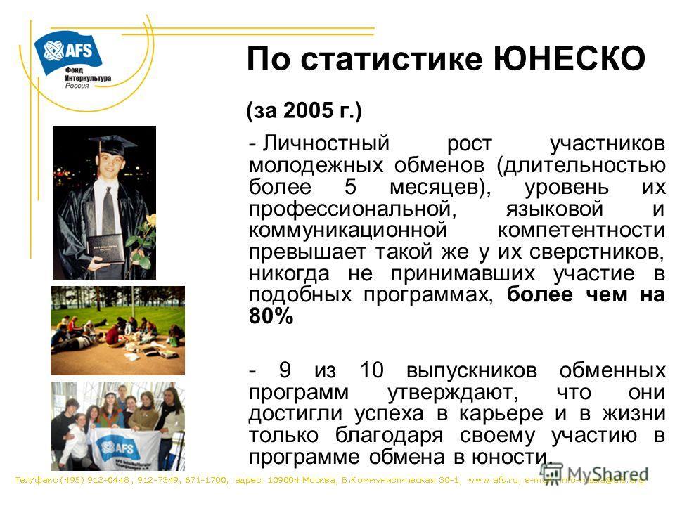 По статистике ЮНЕСКО (за 2005 г.) - Личностный рост участников молодежных обменов (длительностью более 5 месяцев), уровень их профессиональной, языковой и коммуникационной компетентности превышает такой же у их сверстников, никогда не принимавших уча