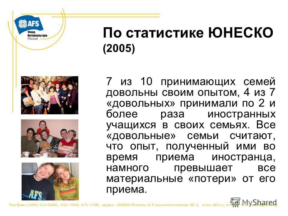 По статистике ЮНЕСКО (2005) 7 из 10 принимающих семей довольны своим опытом, 4 из 7 «довольных» принимали по 2 и более раза иностранных учащихся в своих семьях. Все «довольные» семьи считают, что опыт, полученный ими во время приема иностранца, намно