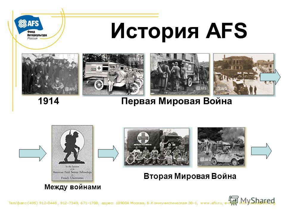 История AFS 1914Первая Мировая Война Между войнами Вторая Мировая Война