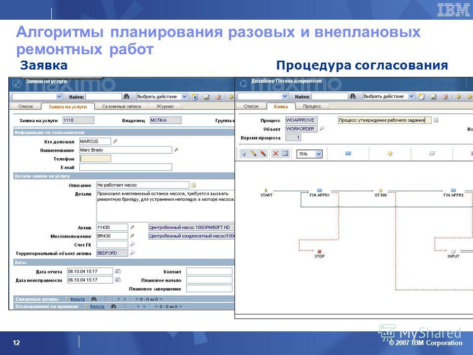 © 2007 IBM Corporation 12 Алгоритмы планирования разовых и внеплановых ремонтных работ ЗаявкаПроцедура согласования