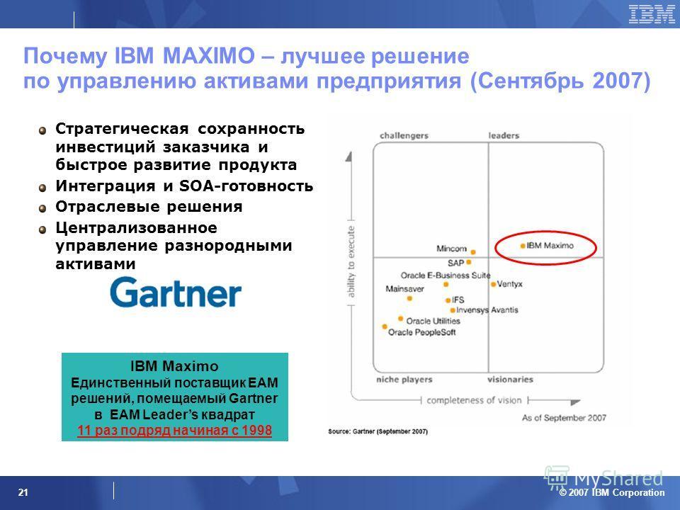 © 2007 IBM Corporation 21 Почему IBM MAXIMO – лучшее решение по управлению активами предприятия (Сентябрь 2007) Стратегическая сохранность инвестиций заказчика и быстрое развитие продукта Интеграция и SOA-готовность Отраслевые решения Централизованно