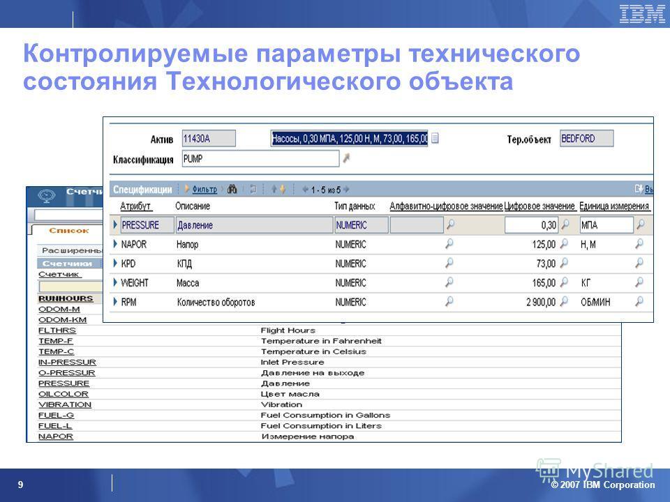 © 2007 IBM Corporation 9 Контролируемые параметры технического состояния Технологического объекта