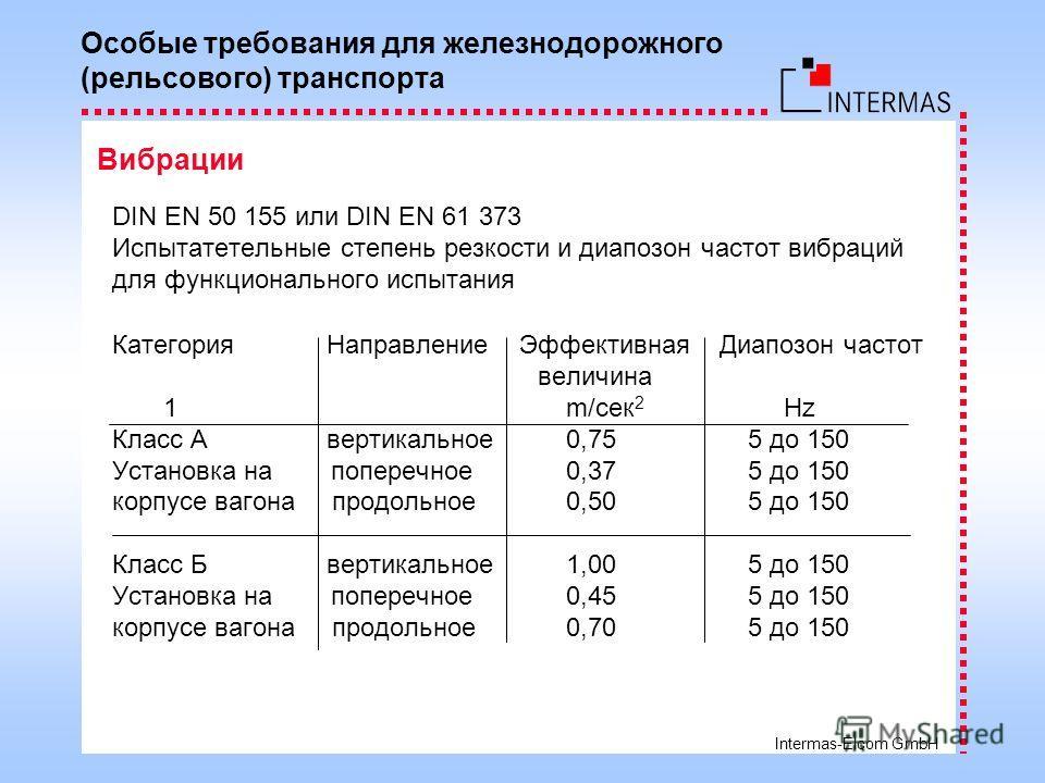 Intermas-Elcom GmbH DIN EN 50 155 или DIN EN 61 373 Испытатетельные степень резкости и диапозон частот вибраций для функционального испытания Категория Направление Эффективная Диапозон частот величина 1 m/сек 2 Hz Класс A вертикальное 0,75 5 до 150 У