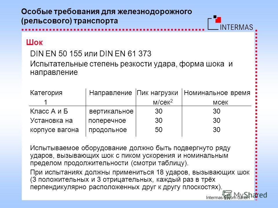 Intermas-Elcom GmbH DIN EN 50 155 или DIN EN 61 373 Испытательные степень резкости удара, форма шока и направление КатегорияНаправление Пик нагрузки Номинальное время 1 м/сек 2 мсек Класс A и Б вертикальное 30 30 Установка на поперечное 30 30 корпусе