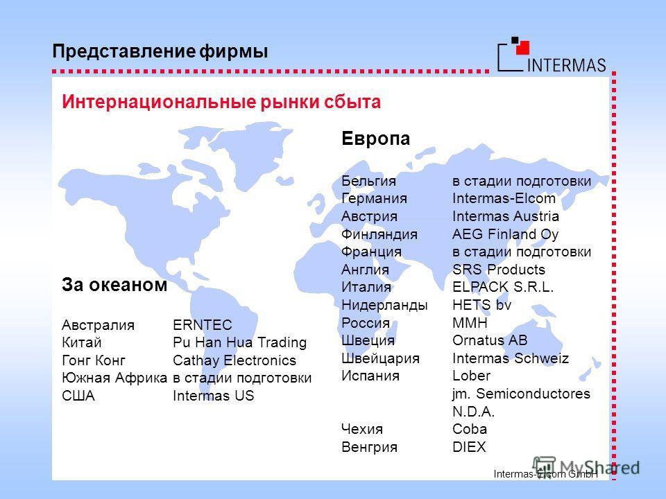 Intermas-Elcom GmbH Представление фирмы Интернациональные рынки сбыта За океаном АвстралияERNTEC КитайPu Han Hua Trading Гонг КонгCathay Electronics Южная Африкав стадии подготовки СШАIntermas US Европа Бельгияв стадии подготовки ГерманияIntermas-Elc