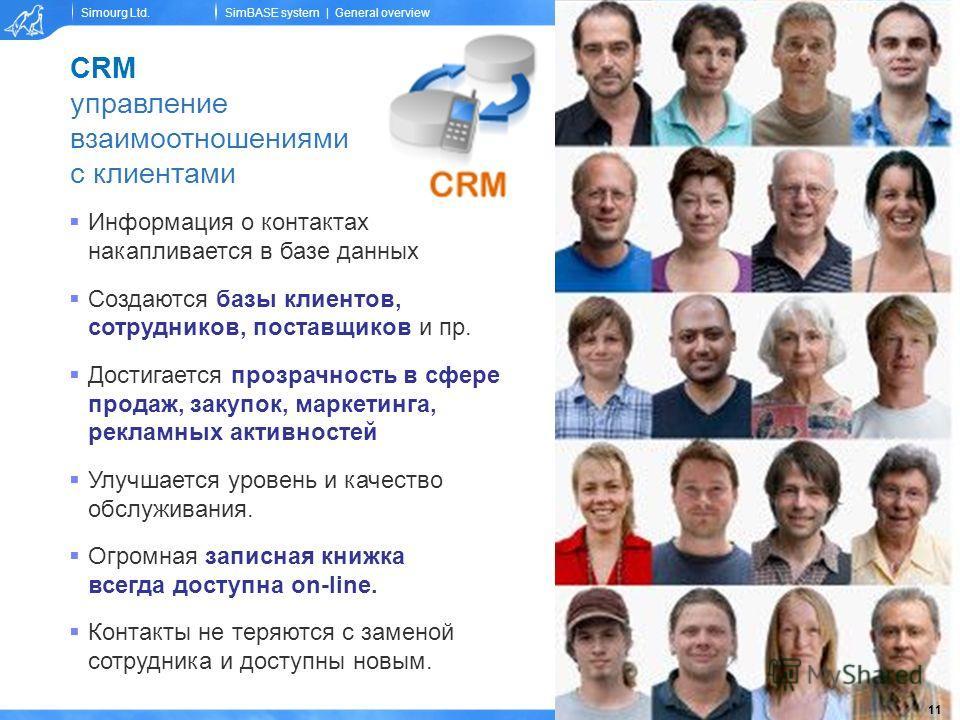 Simourg Ltd.© Simourg, 2008SimBASE system | General overview CRM управление взаимоотношениями с клиентами Информация о контактах накапливается в базе данных Создаются базы клиентов, сотрудников, поставщиков и пр. Достигается прозрачность в сфере прод
