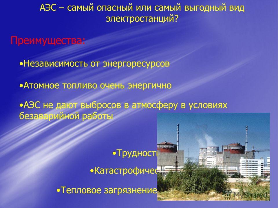 АЭС – самый опасный или самый выгодный вид электростанций? Преимущества: Независимость от энергоресурсов Атомное топливо очень энергично АЭС не дают выбросов в атмосферу в условиях безаварийной работы Недостатки: Трудности в захоронении отходов Катас