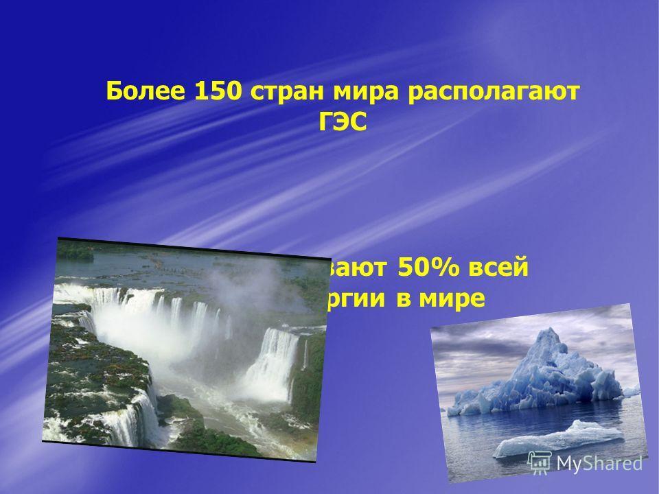 ГЭС вырабатывают 50% всей электроэнергии в мире Более 150 стран мира располагают ГЭС