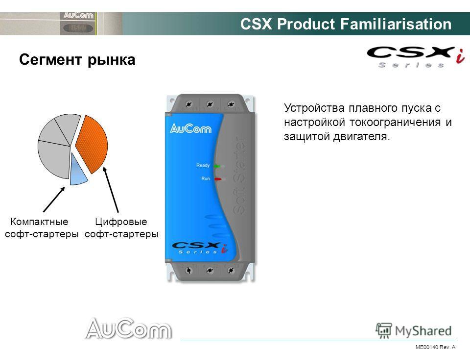 CSX Product Familiarisation ME00140 Rev. A Сегмент рынка Устройства плавного пуска с настройкой токоограничения и защитой двигателя. Компактные софт-стартеры Цифровые софт-стартеры