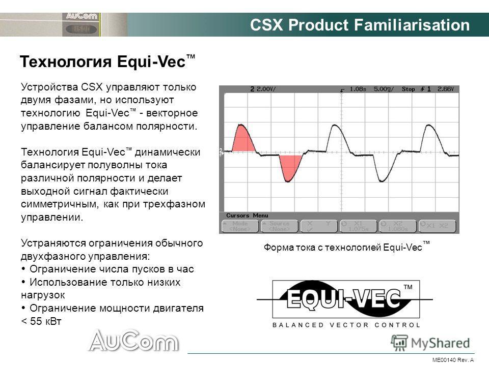 CSX Product Familiarisation ME00140 Rev. A Устройства CSX управляют только двумя фазами, но используют технологию Equi-Vec - векторное управление балансом полярности. Технология Equi-Vec динамически балансирует полуволны тока различной полярности и д