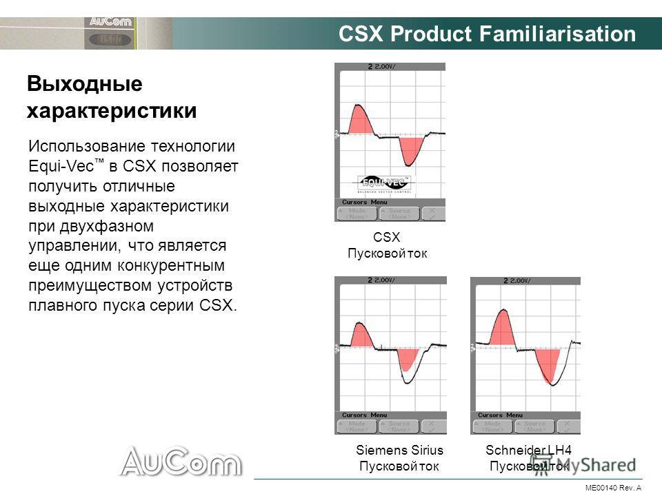 CSX Product Familiarisation ME00140 Rev. A Использование технологии Equi-Vec в CSX позволяет получить отличные выходные характеристики при двухфазном управлении, что является еще одним конкурентным преимуществом устройств плавного пуска серии CSX. Вы
