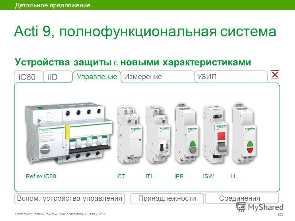 Schneider Electric 100 - Power – Final distribution - Russia -2010 Устройства защиты с новыми характеристиками Детальное предложение Вспом. устройства управленияСоединенияПринадлежности Acti 9, полнофункциональная система Управление iIDiC60 Измерение