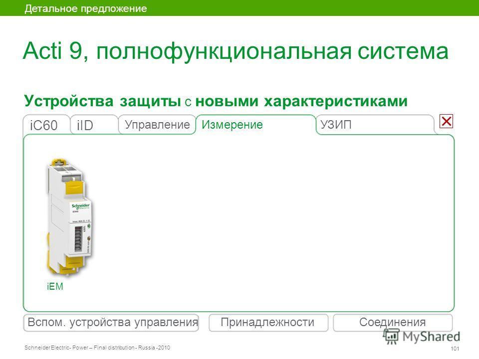 Schneider Electric 101 - Power – Final distribution - Russia -2010 Устройства защиты с новыми характеристиками Детальное предложение Вспом. устройства управленияСоединенияПринадлежности Acti 9, полнофункциональная система Измерение iIDiC60 Управление