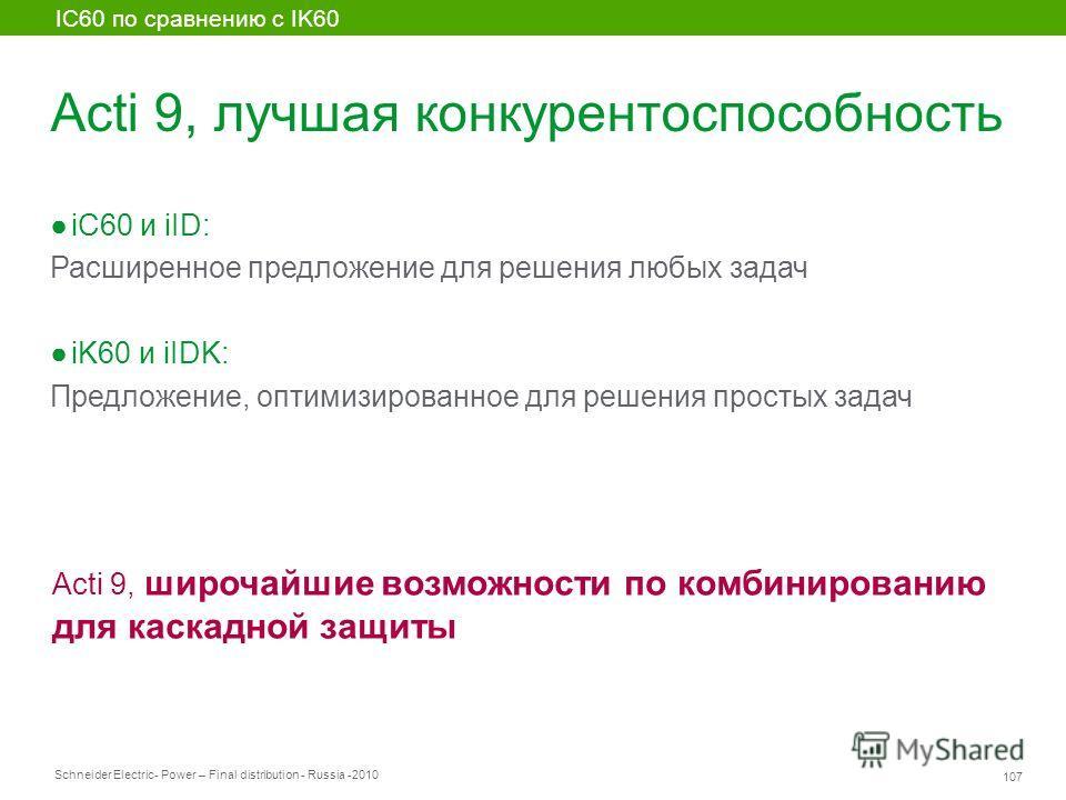 Schneider Electric 107 - Power – Final distribution - Russia -2010 Acti 9, лучшая конкурентоспособность iC60 и iID: Расширенное предложение для решения любых задач iK60 и iIDK: Предложение, оптимизированное для решения простых задач IC60 по сравнению