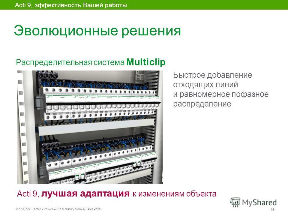 Schneider Electric 36 - Power – Final distribution - Russia -2010 Эволюционные решения Распределительная система Multiclip Acti 9, эффективность Вашей работы Acti 9, лучшая адаптация к изменениям объекта Быстрое добавление отходящих линий и равномерн