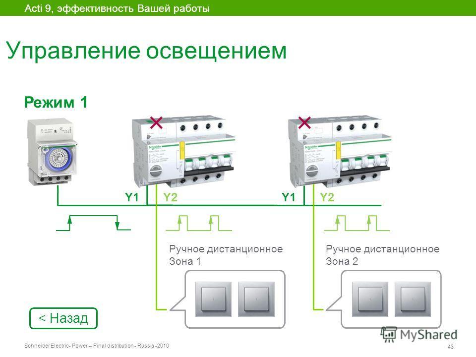 Schneider Electric 43 - Power – Final distribution - Russia -2010 Управление освещением Acti 9, эффективность Вашей работы Y1 Режим 1 Ручное дистанционное Зона 2 Y2Y1Y2 Ручное дистанционное Зона 1 < Назад