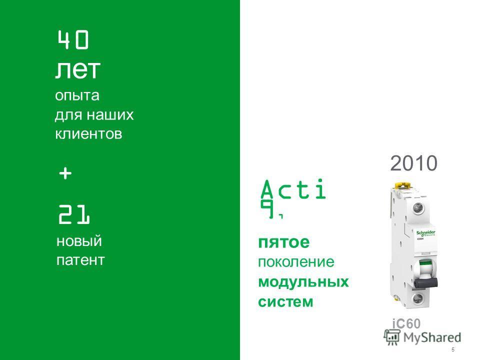 Schneider Electric 5 - Power – Final distribution - Russia -2010 40 лет опыта для наших клиентов Acti 9, пятое поколение модульных систем 2010 iC60 21 новый патент +