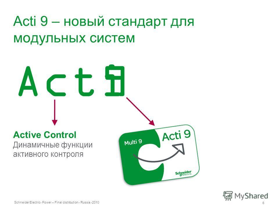 Schneider Electric 6 - Power – Final distribution - Russia -2010 Acti 9 – новый стандарт для модульных систем Active Control Динамичные функции активного контроля Acti9
