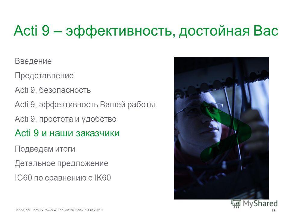 Schneider Electric 86 - Power – Final distribution - Russia -2010 Acti 9 – эффективность, достойная Вас Введение Представление Acti 9, безопасность Acti 9, эффективность Вашей работы Acti 9, простота и удобство Acti 9 и наши заказчики Подведем итоги
