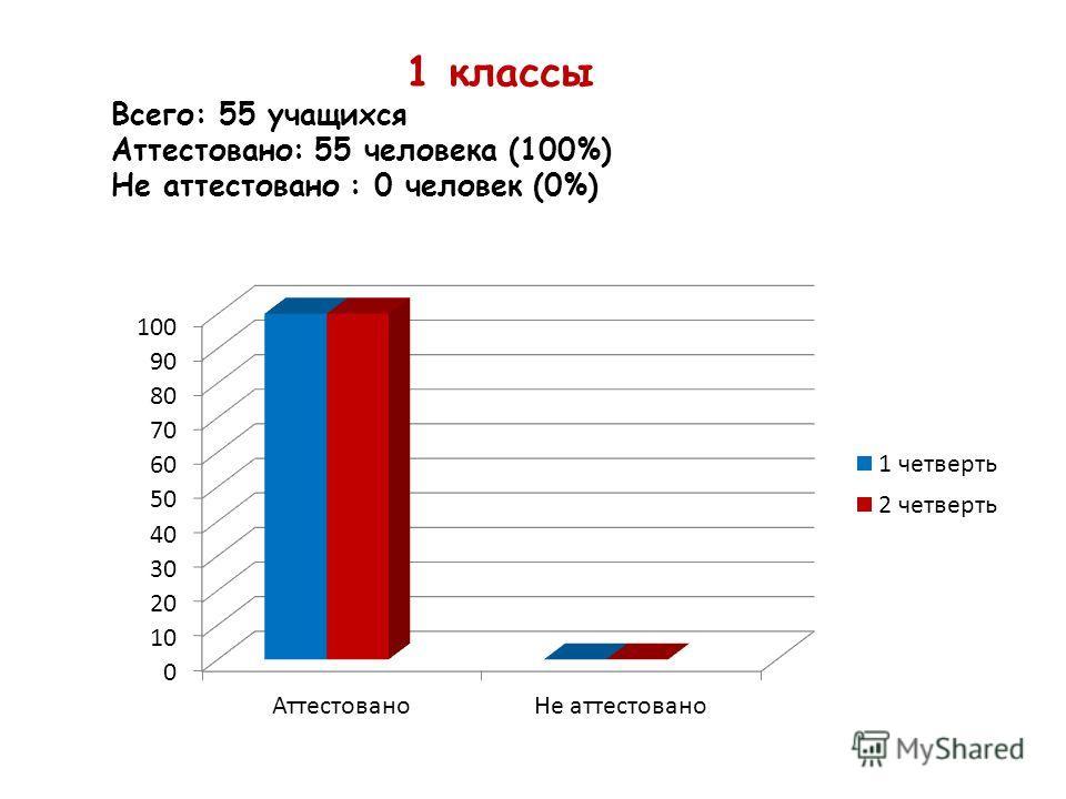 1 классы Всего: 55 учащихся Аттестовано: 55 человека (100%) Не аттестовано : 0 человек (0%)
