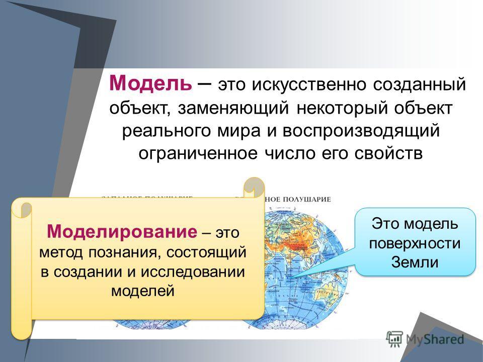 Модель – это искусственно созданный объект, заменяющий некоторый объект реального мира и воспроизводящий ограниченное число его свойств Это модель поверхности Земли Моделирование – это метод познания, состоящий в создании и исследовании моделей