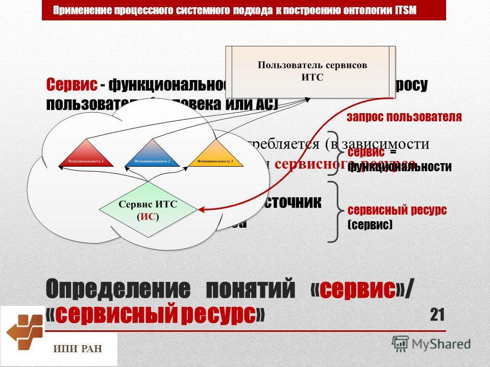 ИПИ РАН Определение понятий «сервис»/ «сервисный ресурс» 21 Применение процессного системного подхода к построению онтологии ITSM Сервис - функциональность, реализуемая по запросу пользователя (человека или АС) Термин «сервис» может употребляется (в