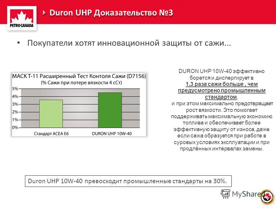 Покупатели хотят инновационной защиты от сажи... DURON UHP 10W-40 эффективно борется и диспергирует в 1,3 раза сажи больше, чем предусмотрено промышленным стандартом, и при этом максимально предотвращает рост вязкости. Это помогает поддерживать макси