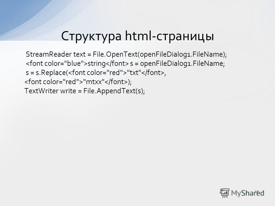 StreamReader text = File.OpenText(openFileDialog1.FileName); string s = openFileDialog1.FileName; s = s.Replace( txt, mtxx ); TextWriter write = File.AppendText(s); Структура html-страницы 10