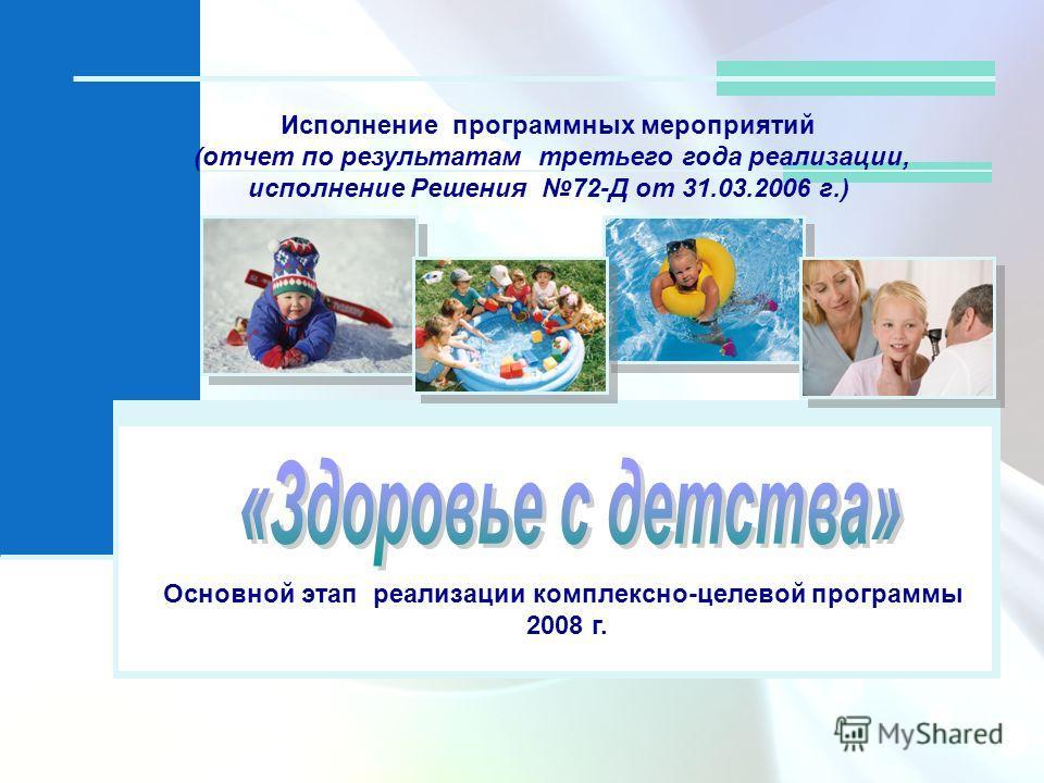 Исполнение программных мероприятий (отчет по результатам третьего года реализации, исполнение Решения 72-Д от 31.03.2006 г.) Основной этап реализации комплексно-целевой программы 2008 г.