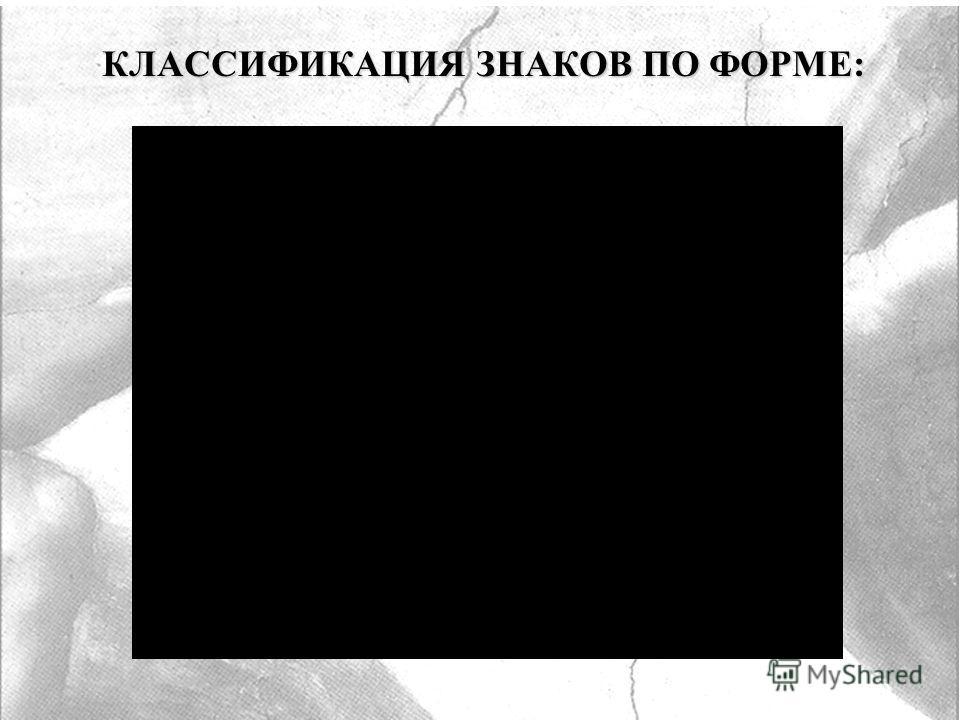 КЛАССИФИКАЦИЯ ЗНАКОВ ПО ФОРМЕ: