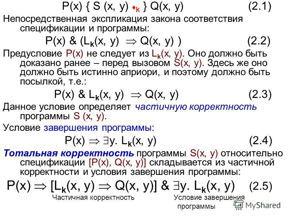 P(x) { S (x, y) k } Q(x, y) (2.1) Непосредственная экспликация закона соответствия спецификации и программы: P(x) & (L k (x, y) Q(x, y) ) (2.2) Предусловие P(x) не следует из L k (x, y). Оно должно быть доказано ранее – перед вызовом S(x, y). Здесь ж