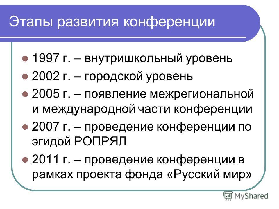 Этапы развития конференции 1997 г. – внутришкольный уровень 2002 г. – городской уровень 2005 г. – появление межрегиональной и международной части конференции 2007 г. – проведение конференции по эгидой РОПРЯЛ 2011 г. – проведение конференции в рамках