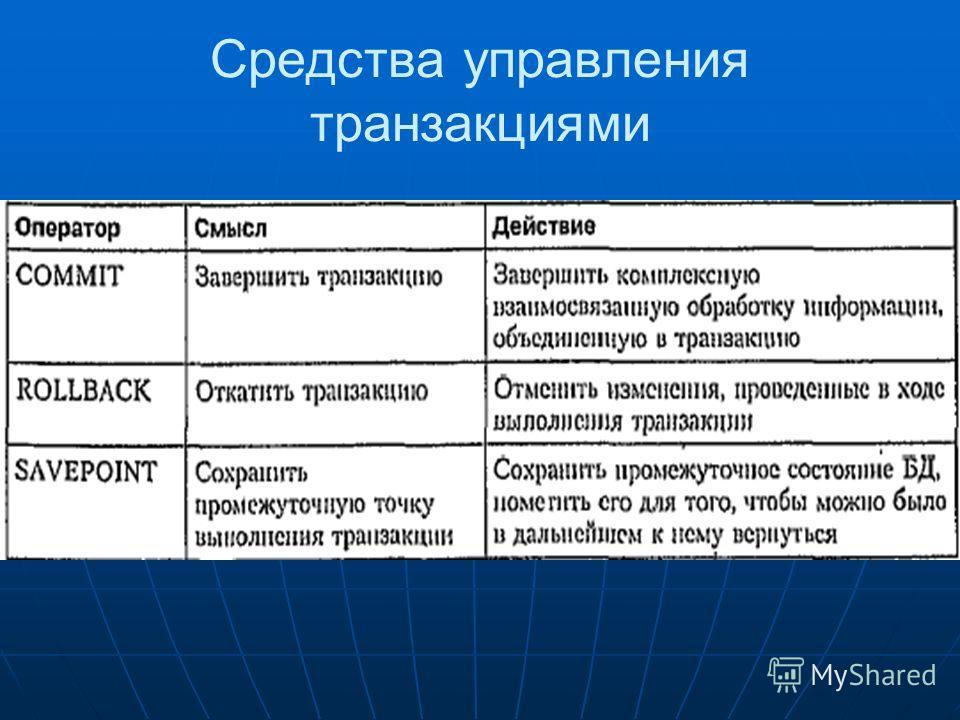 Средства управления транзакциями