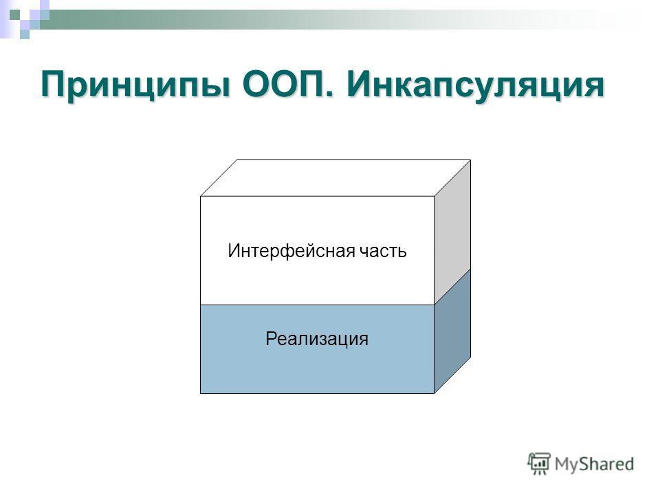 Принципы ООП. Инкапсуляция Реализация Интерфейсная часть