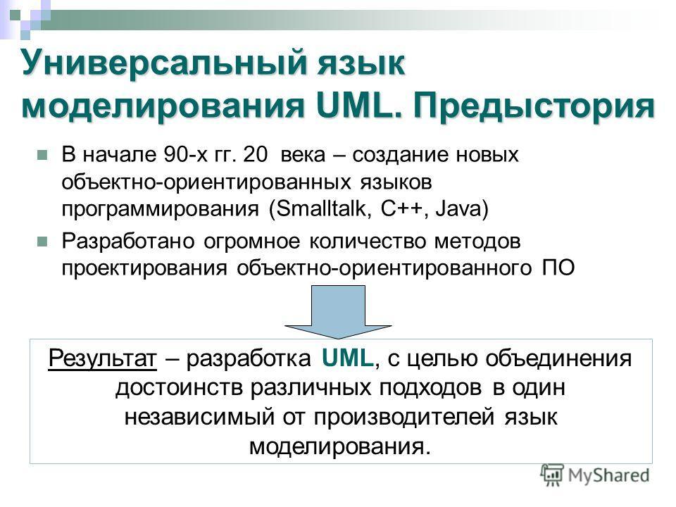Универсальный язык моделирования UML. Предыстория В начале 90-х гг. 20 века – создание новых объектно-ориентированных языков программирования (Smalltalk, C++, Java) Разработано огромное количество методов проектирования объектно-ориентированного ПО Р