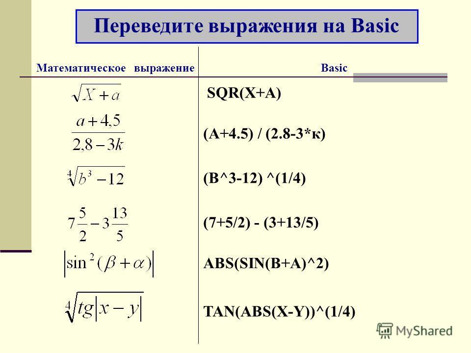 Переведите выражения на Basic Математическое выражение Basic SQR(X+A) (A+4.5) / (2.8-3*к) (B^3-12) ^(1/4) (7+5/2) - (3+13/5) ABS(SIN(B+A)^2) TAN(ABS(X-Y))^(1/4)