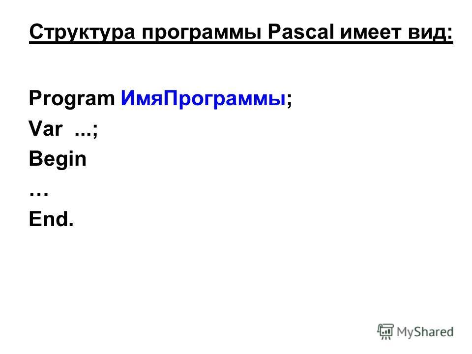 Структура программы Pascal имеет вид: Program ИмяПрограммы; Var...; Begin … End.