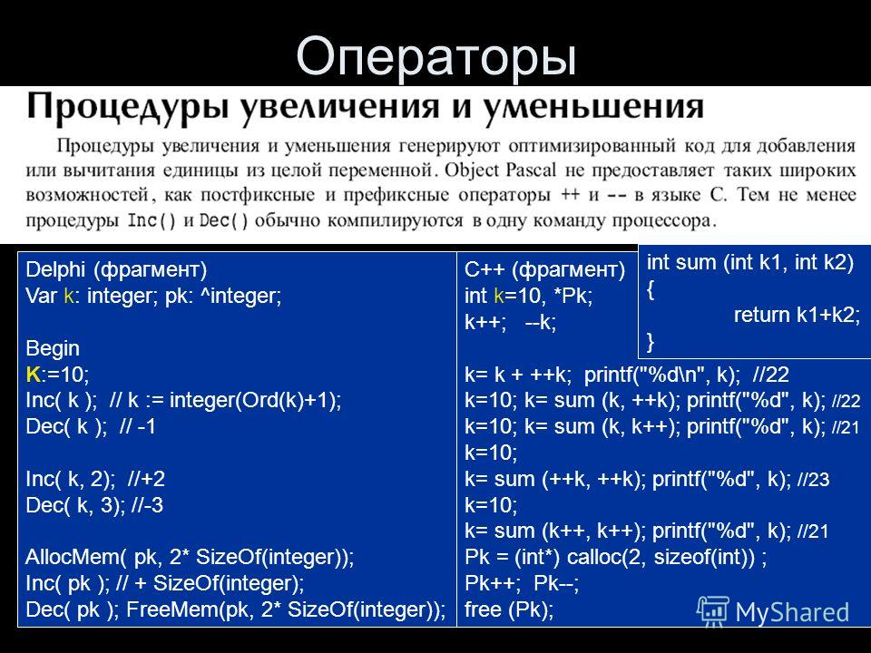 Гречкина П.В., ПЯВУ-2, С++ Операторы Delphi (фрагмент) Var k: integer; pk: ^integer; Begin K:=10; Inc( k ); // k := integer(Ord(k)+1); Dec( k ); // -1 Inc( k, 2); //+2 Dec( k, 3); //-3 AllocMem( pk, 2* SizeOf(integer)); Inc( pk ); // + SizeOf(integer