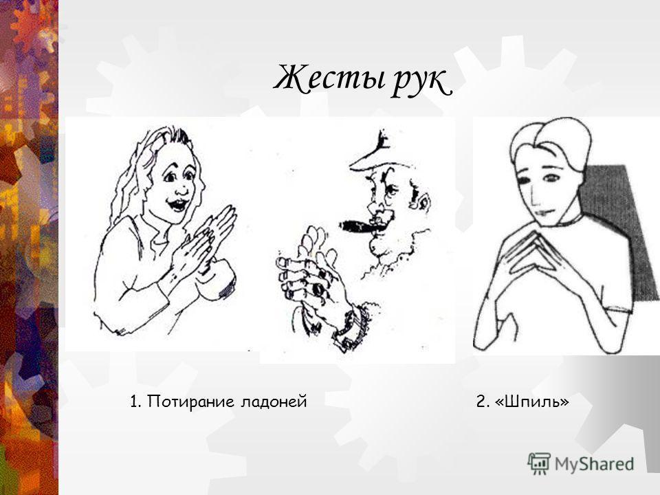 Жесты рук 1. Потирание ладоней 2. «Шпиль»