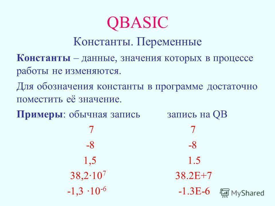 QBASIC Константы. Переменные Константы – данные, значения которых в процессе работы не изменяются. Для обозначения константы в программе достаточно поместить её значение. Примеры: обычная запись запись на QB 7 7 -8 -8 1,5 1.5 38,210 7 38.2Е+7 -1,3 10