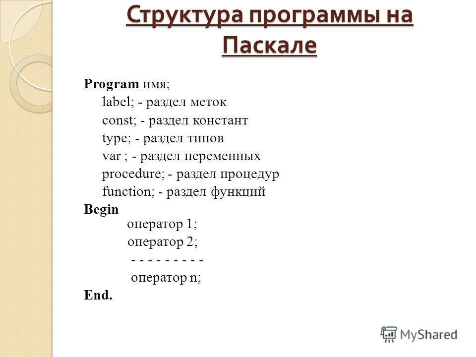 Структура программы на Паскале Program имя; label; - раздел меток const; - раздел констант type; - раздел типов var ; - раздел переменных procedure; - раздел процедур function; - раздел функций Begin оператор 1; оператор 2; - - - - - - - - - оператор